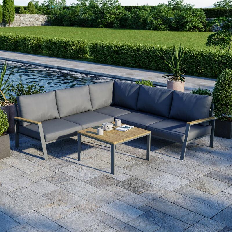 Salon de jardin design aluminium bois- Gris - intérieur/extérieur - DOMA - Gris