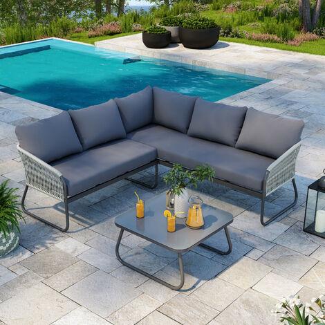 """main image of """"Salon de jardin design avec cordes aluminium - Gris - intérieur/extérieur - Utah - Gris"""""""