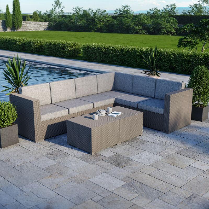 Salon de jardin design en imitation résine tressée- Gris - 6 places - RUMBA - Gris