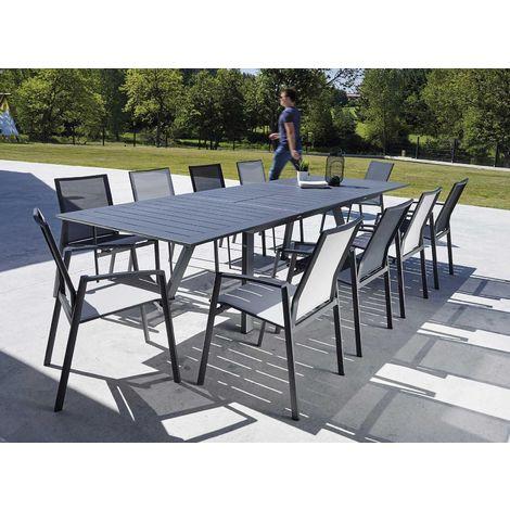 Salon de jardin design gris 8 fauteuils Malouine - 5011-9 + 2051-8 + ...