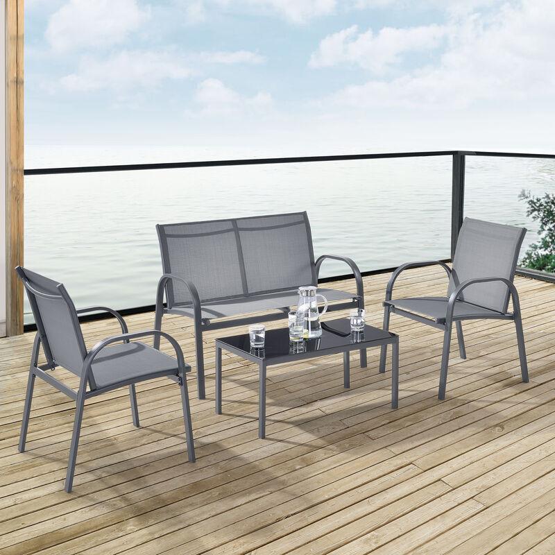 [en.casa] - Salon de Jardin Design Table Basse Plateau en Verre Canapé Fauteuils Set de 4 Meubles Extérieurs pour 4 Personnes Acier PVC Polyester