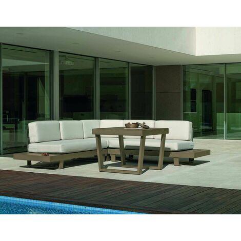 Salon de jardin détente canapé d'angle et table haute Menfis Blanc - Blanc
