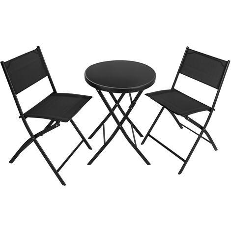 Salon De Jardin DUSSELDORF 2 Personnes 1 Table Et Chaises Pliables En Acier Textilene
