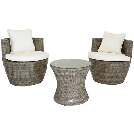 Salon de jardin empilable Verona - table d\'appoint/2 fauteuils - marron