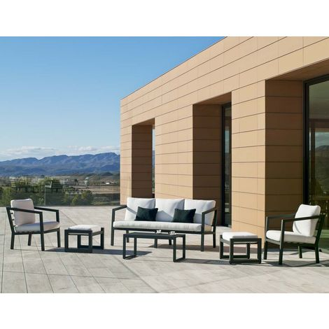 Salon de jardin en aluminium 5/7 places Aurana Gris anthracite