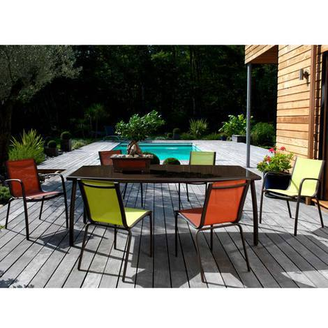Salon de jardin en Aluminium 6 places Rouille Lime LINEA - Proloisirs