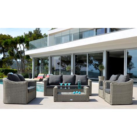 Salon de jardin en aluminium avec 5 pièces coloris gris clair ...