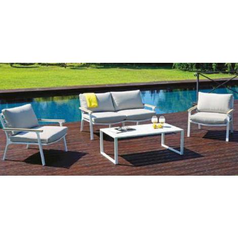 Salon de jardin en aluminium blanc, coussins coloris ficelle