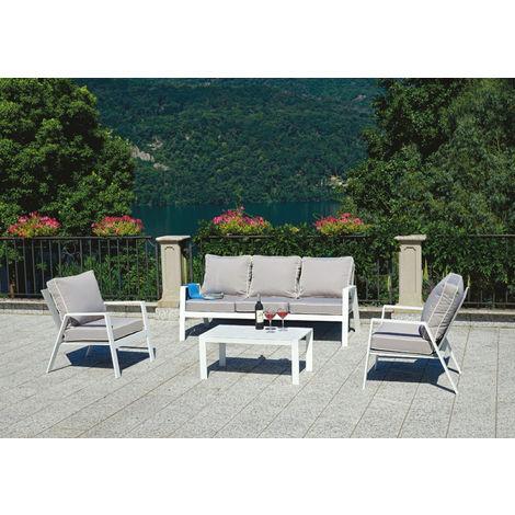 Salon de jardin en aluminium blanc, coussins coloris gris tourterelle -  PEGANE -