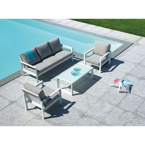 Salon de jardin en aluminium blanc et coussins coloris ficelle - PEGANE -