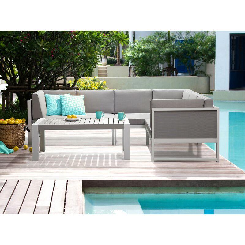 Salon de jardin en aluminium blanc et gris VINCI