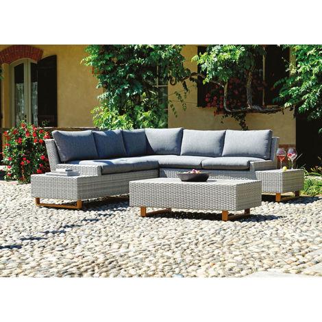 Salon de jardin en aluminium blanc et osier coloris gris chiné - PEGANE -