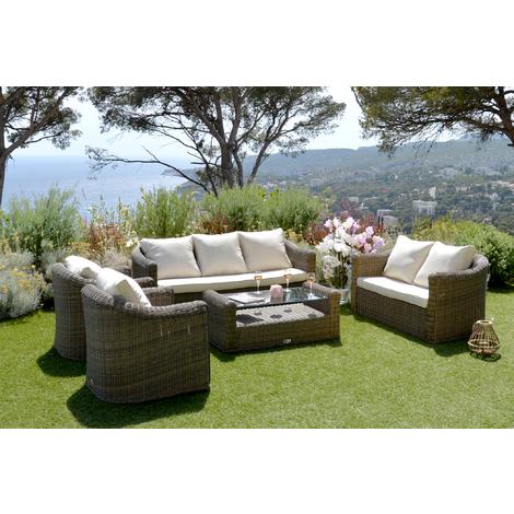 Salon de jardin en aluminium en résine tressé coloris Gris -PEGANE-