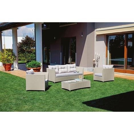 Salon de jardin en aluminium et textilène gris tourterelle - PEGANE -