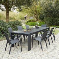 Salon de jardin en aluminium et textilène noir 8 places