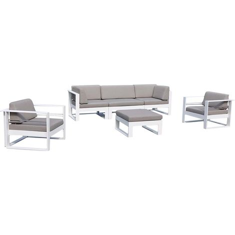 Salon de jardin en aluminium et tissu d\'oléfine St Tropez