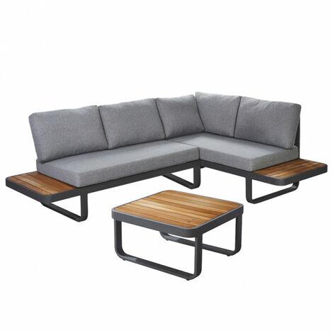 Salon de jardin en aluminium gris anthracite et bois de teck - VAHINE - Gris anthracite