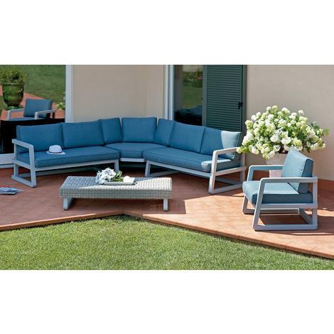 Salon de jardin en aluminium gris composé de 1 fauteuil + 1 canapé  d\\u2019angle + 1 table basse