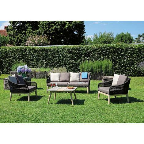Salon de jardin en aluminium recouvert d\'un cordage coloris brun