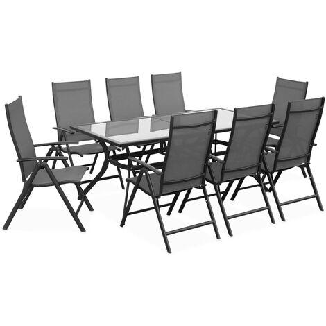 Salon de jardin en aluminium table 8 places anthracite textilène