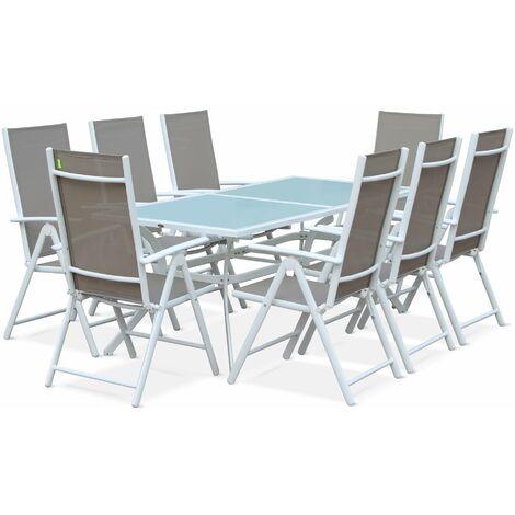 Salon de jardin en aluminium table 8 places Blanc textilène fauteuil ...