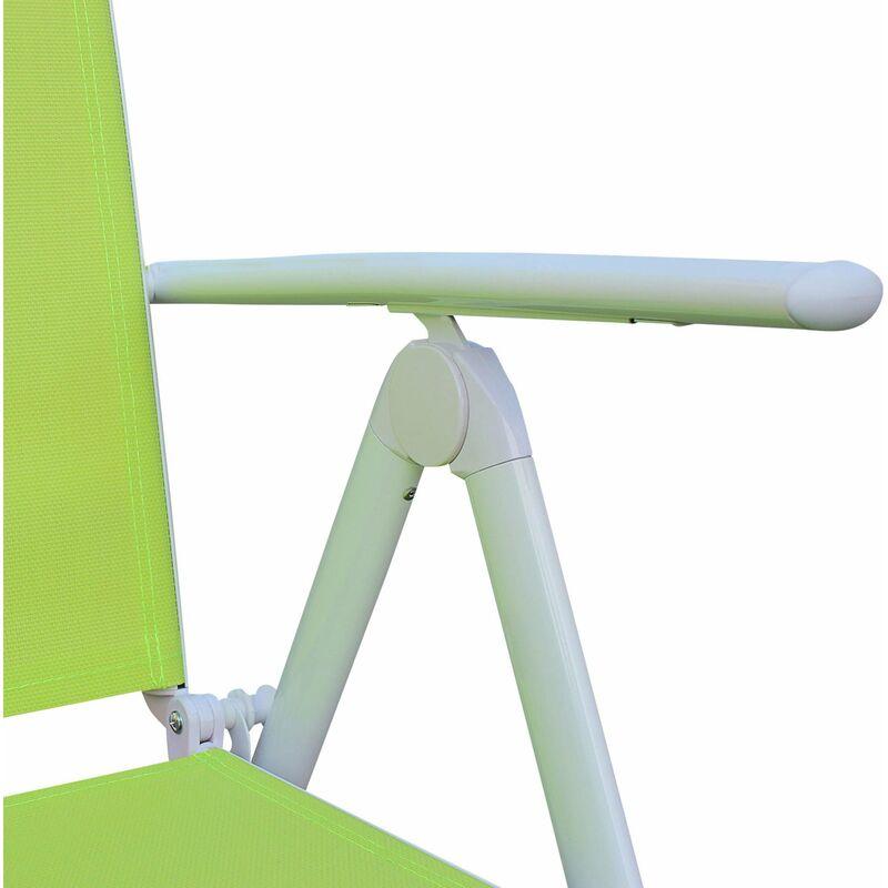 Salon de jardin en aluminium table 8 places Blanc textilène fauteuil vert  pomme
