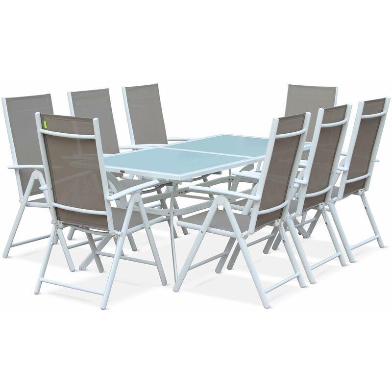 Salon de jardin en aluminium table 8 places textilène fauteuil Blanc / Taupe