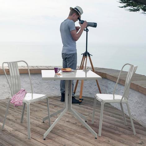 Salon de jardin en aluminium table URBAN + 2 chaises AZURO Gris ...