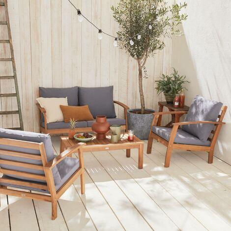 Salon de jardin en bois 4 places - Ushuaïa - Coussins gris ...