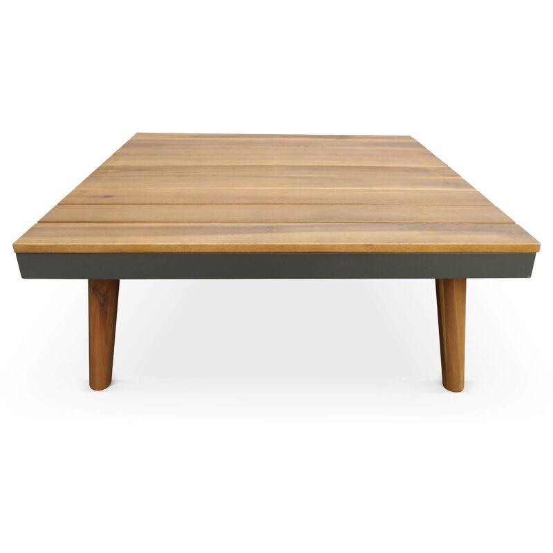 Salon de jardin en bois 5 places - Buenos Aires - canapé d\'angle, tablettes  latérales, table basse en acacia, structure alu