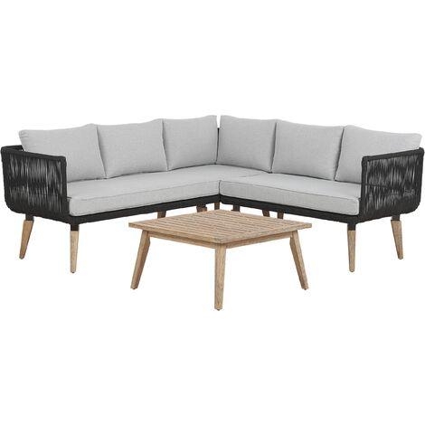 Salon de jardin en bois acacia avec coussin gris ALCAMO - 121821