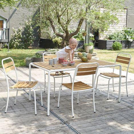 Salon de jardin en bois acacia FSC et métal 4 places
