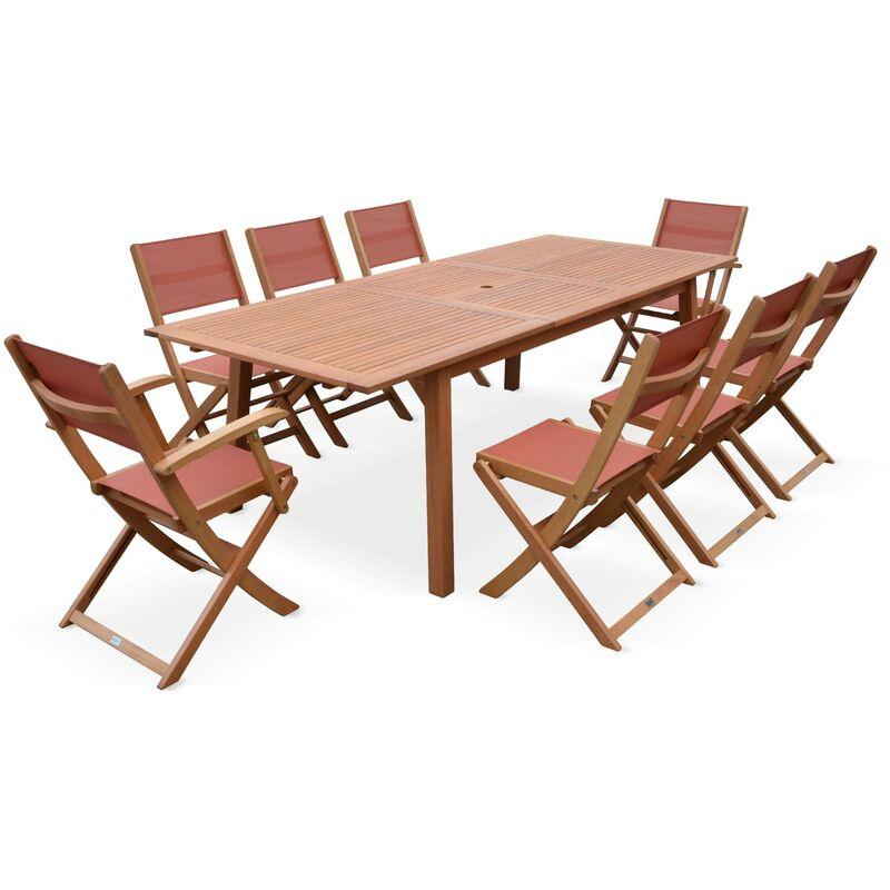 6 rectangulaire et jardin textilène 2 Salon fauteuils en 180 240cm cotta de chaises eucalyptus terra bois Almeriagrande table GqMSVpUz