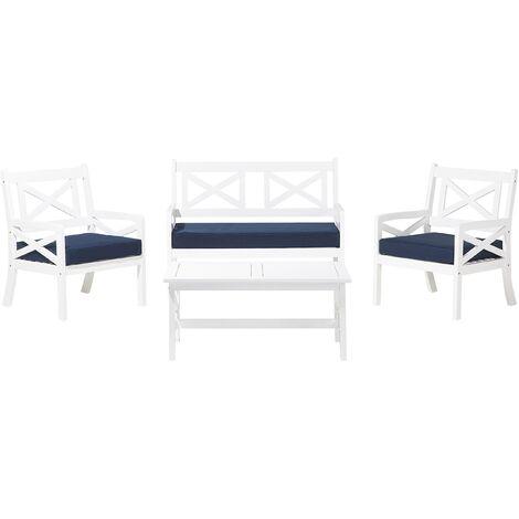 Salon de jardin en bois blanc avec coussins bleu marine BALTIC