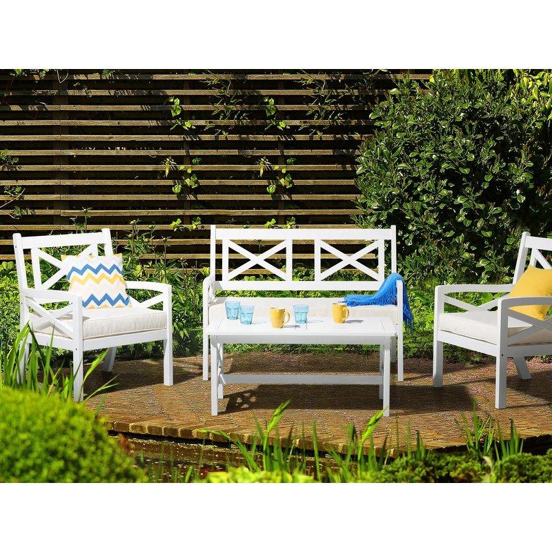 Salon de jardin en bois blanc et coussins beiges BALTIC - 36982