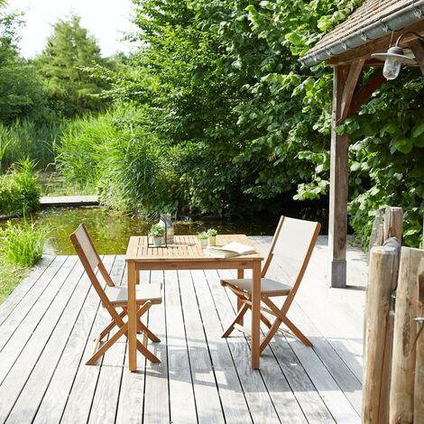 Salon de jardin en bois d'acacia 2 places - Marron