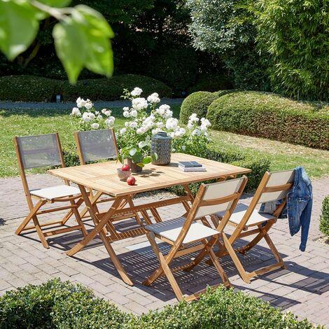 Salon de jardin en bois d'acacia 4 à 6 places - Marron