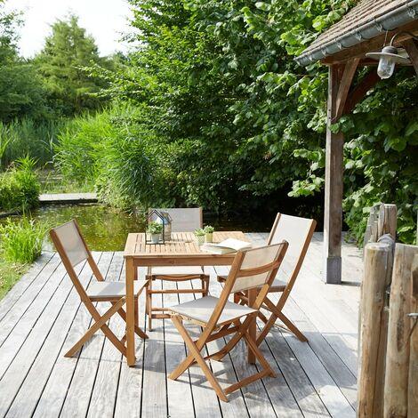 Salon de jardin en bois d'acacia 4 places - Marron
