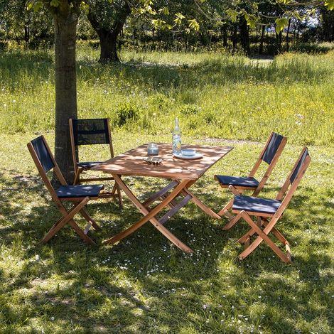 Salon de jardin en bois d'acacia 4 places - Naturel