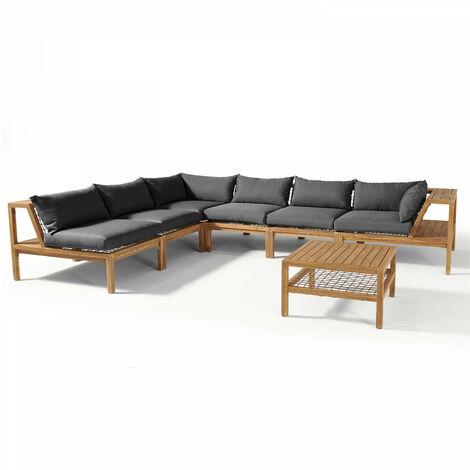 Salon de jardin en bois d'acacia 6 places - SEYCHELLES - Gris - Gris