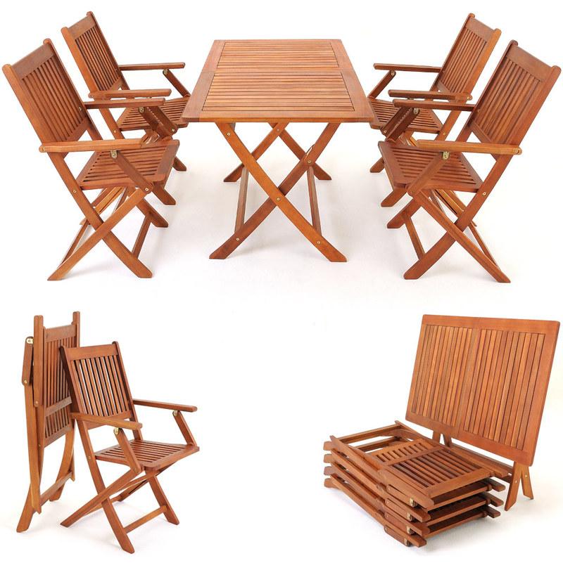 Jardin Set de 4 chaises de jardin pliantes Sydney en bois ...