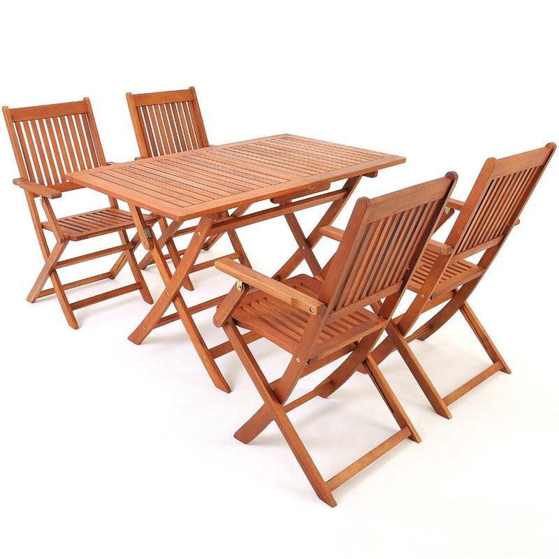 Table D\'\'acacia Ensemble Chaise Et De Bois Pliable Jardin Salon En ...