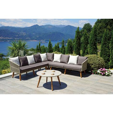 Salon de Jardin en bois d\'acacia et aluminium- PEGANE - - 36MOI-SET1027