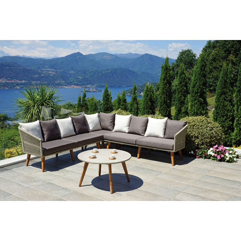 Salon de Jardin en bois d\'acacia et aluminium- PEGANE -