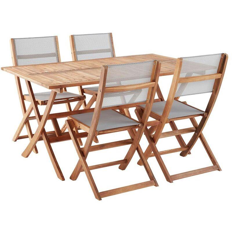 Salon de jardin en bois d\'acacia FSC 4 à 6 places