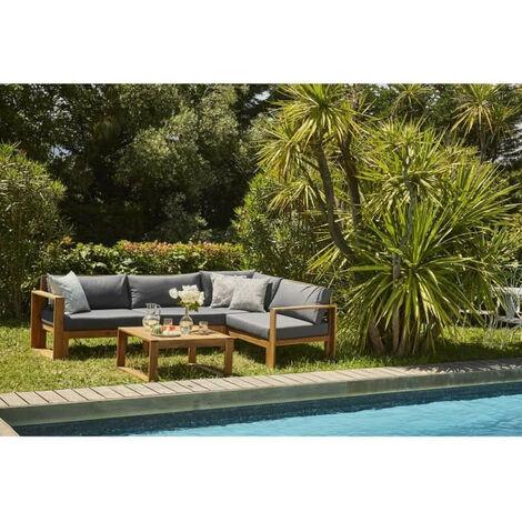"""main image of """"Salon de jardin en bois dacacia FSC - 5 personnes avec coussins gris anthracite LEVATA"""""""