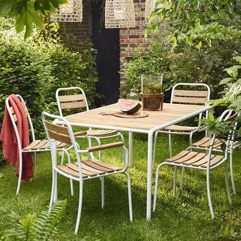 Salon de jardin en bois d\'acacia FSC et métal 4 à 6 places