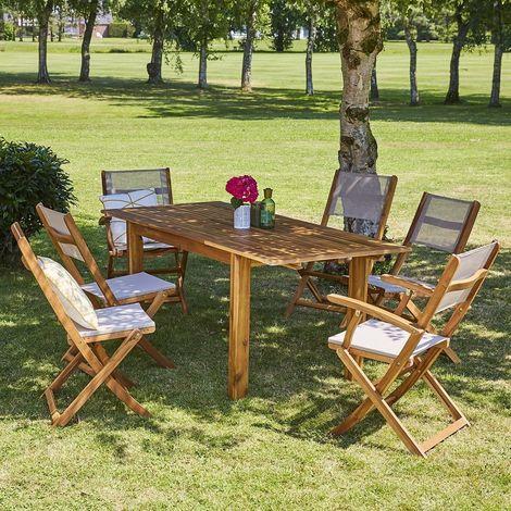 Salon de jardin en bois d\'acacia FSC extensible 6 à 8 places -