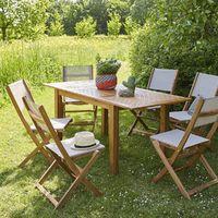 Salon de jardin en bois d\'acacia FSC extensible 6 à 8 places