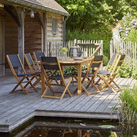 Salon de jardin en bois d\'acacia FSC extensible 8 à 10 places -